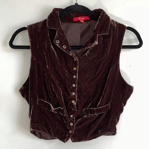 Velvet Button-up Vest Crop Top with Gold Buttons
